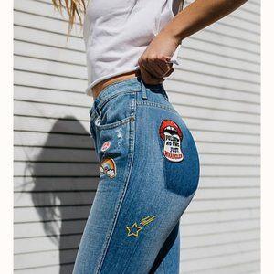Wrangler Retro Badge Flare Denim High Rise Jeans